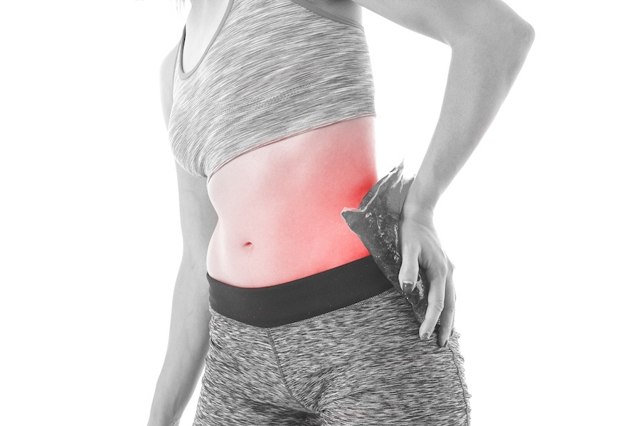 Female with hip pain and ice gel